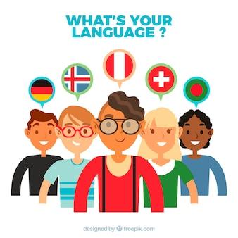 フラットデザインの異なる言語を話す人々のグループ