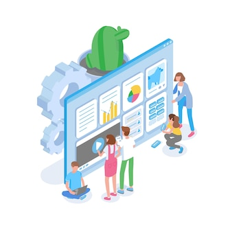 거대한 컴퓨터 화면 앞에 서서 검색 엔진 용 웹 사이트를 최적화하는 사람들의 그룹