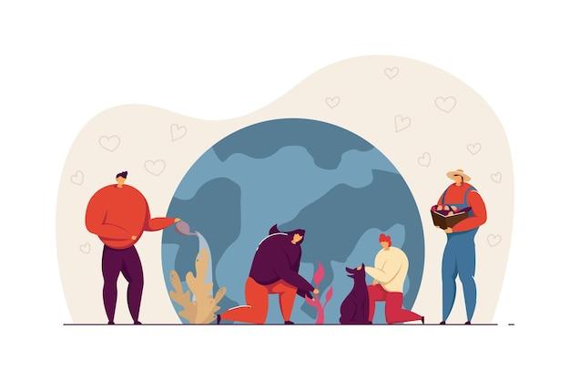 地球の世話をしている人々のグループ。小さなキャラクターが植物に水をまき、成長し、平らなベクトル図を収穫します。植林、農業、バナーのエコロジーコンセプト、ウェブサイトのデザイン