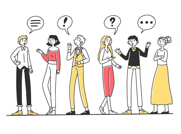 互いに話している人々のグループ