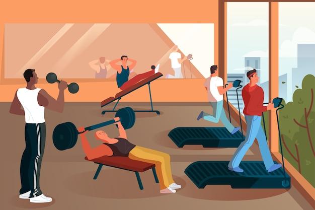 ジムでトレーニングする人々のグループ。重量挙げと運動をします。スポーツと健康的なライフスタイル。トレーニングをしている男性。ジムのモダンなインテリア。図