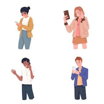 スマートフォンのビデオ通話のセルフィーと電話のインターネットとソーシャルメディア中毒の概念図を使用している人々のグループ