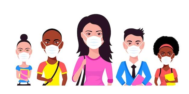Группа людей в маске, изолированных на белом.