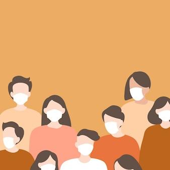 Covid-19에 대한 얼굴 마스크를 착용하는 사람들의 그룹