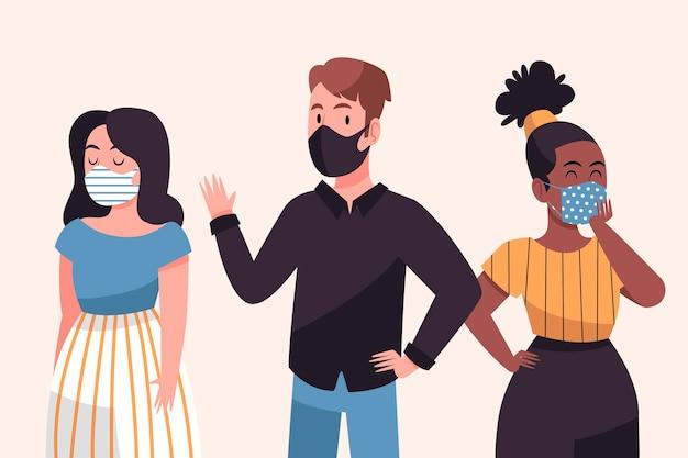 フェイスマスクを着ている人々のグループ