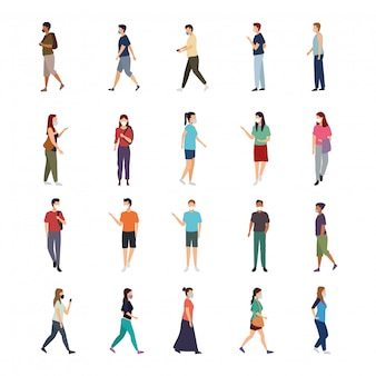 의료 마스크 문자를 착용하는 사람들의 그룹