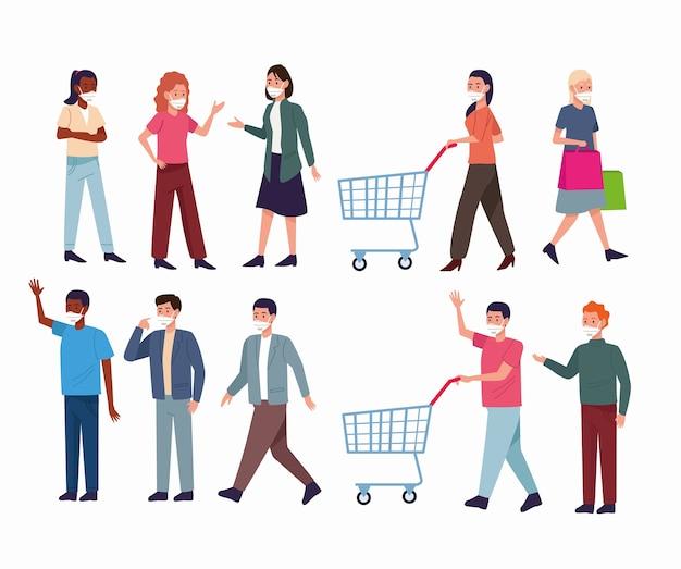 의료 마스크와 쇼핑 카트를 착용하는 사람들의 그룹