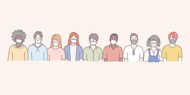 의료 마스크를 착용하는 사람들의 그룹입니다. covid-19, 독감, 먼지 보호 개념.