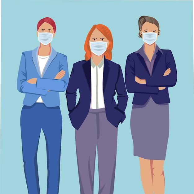 의료 마스크를 착용하는 사람들의 그룹입니다. 플랫 스타일의 일러스트레이션