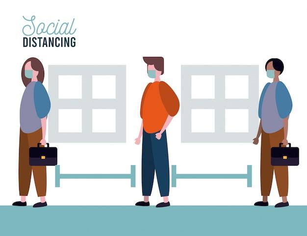 사회적 거리를 연습하는 의료 마스크를 착용하는 사람들의 그룹