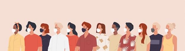 病気、インフルエンザ、大気汚染、汚染された空気、世界の汚染を防ぐために医療用マスクを着用している人々のグループ。フラットスタイルのベクトル図