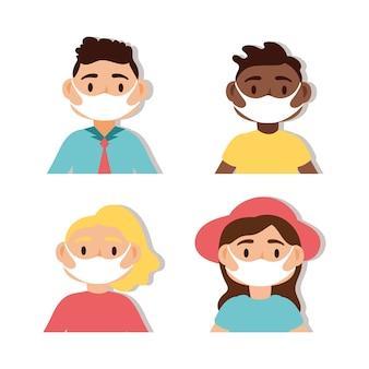 의료 마스크 벡터 일러스트 디자인을 착용하는 사람들의 그룹