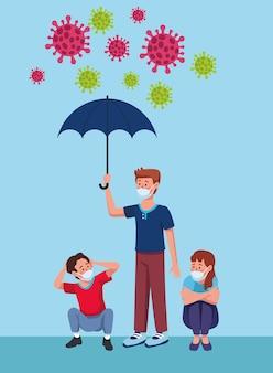 우산 문자 일러스트와 함께 의료 마스크를 착용하는 사람들의 그룹