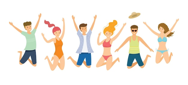 점프하는 여름 옷을 입고 사람들의 그룹