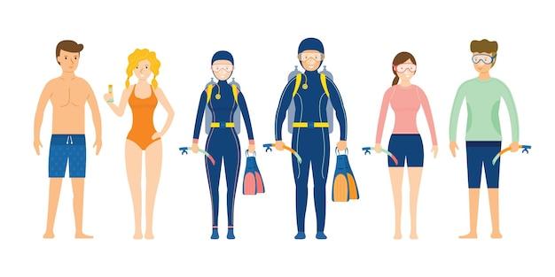 수영 및 다이빙 옷을 입고 사람들의 그룹
