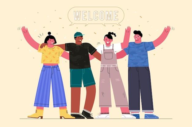 イラストを歓迎する人々のグループ