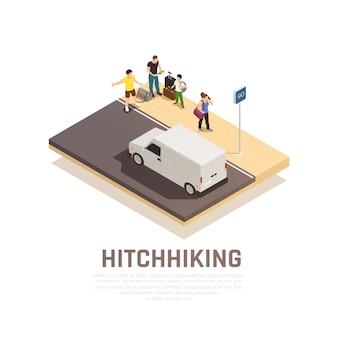 히치 하이킹 여행 아이소 메트릭 구성을위한 도로에 수하물을 가진 사람들의 그룹