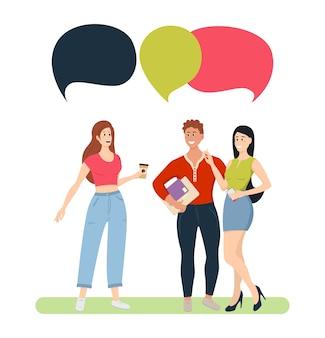 チャットバブルカジュアルな若い男性と女性を持つ人々のグループ。ソーシャルネットワーク、ニュース、ソーシャルネットワーク、チャット、会話の吹き出しについて話し合う