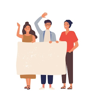 Группа людей с пустой баннер плоской иллюстрации.