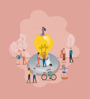 Группа людей с символом аватара лампочки