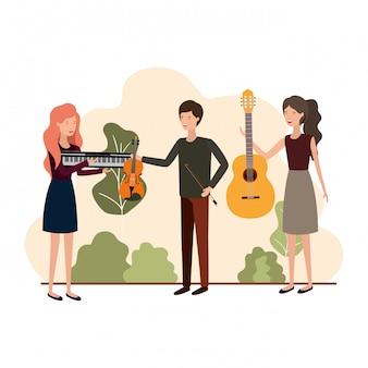 風景の中の楽器を持つ人々のグループ