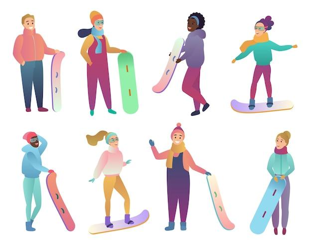 Группа людей со сноубордами и лыжами зимний активный отдых