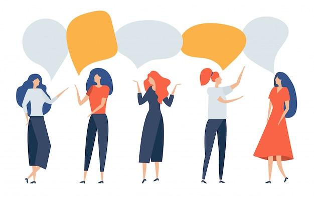 Группа людей с речи пузырь. женщины общаются, разговаривают, обсуждают, спорят, рассуждают, доказывают, общаются, делают выводы. бизнесмены обсуждают новости, социальные вопросы, ведут переговоры. иллюстрации.