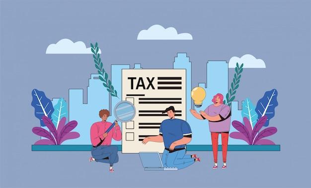 税の日を持つ人々のグループはイラストデザインを支払う