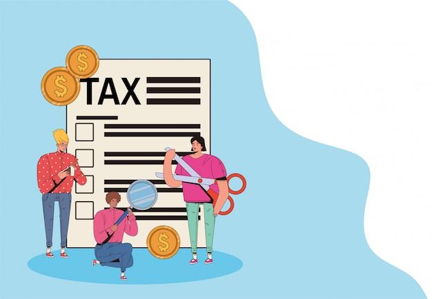 税の日を持つ人々のグループはベクトルイラストデザインを支払う