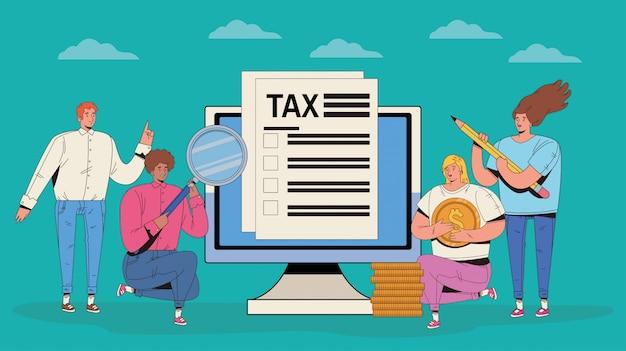 세금과 돈을 아이콘으로 사람들의 그룹