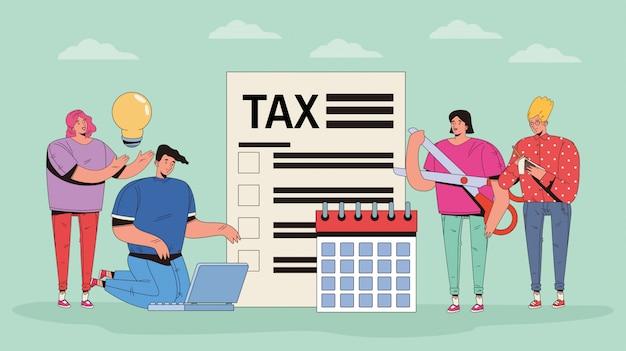 税金とお金のアイコンを持つ人々のグループ