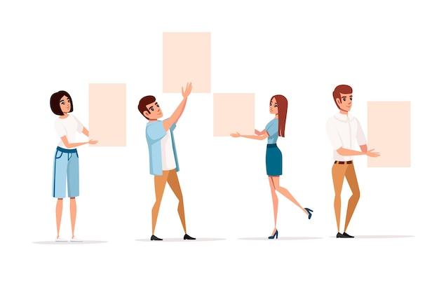 Группа людей с поднятыми руками держит пустой пустой знак дизайн персонажа из мультфильма