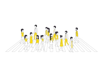 Group of people with yellow clothes walking