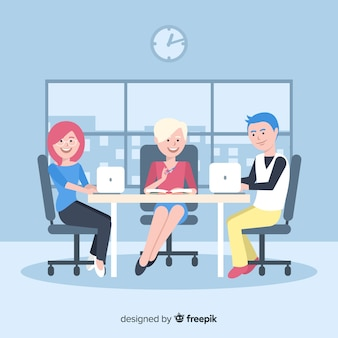 사무실에서 일하는 사람들의 그룹