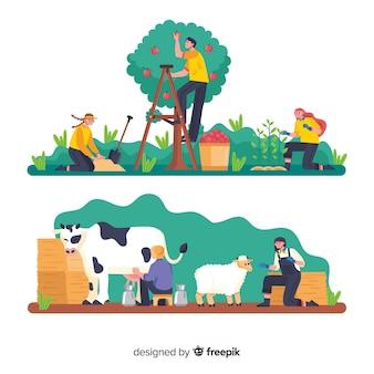 농업 세트에서 일하는 사람들의 그룹
