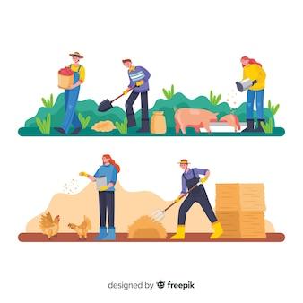 농업에서 일하는 사람들의 그룹