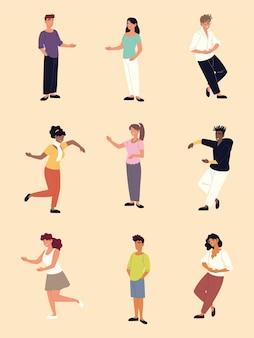 人々のグループ若い男性と女性の立っているイラスト