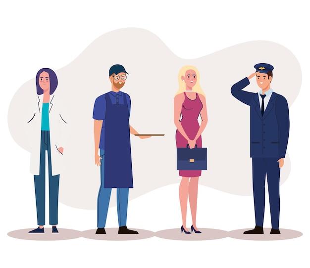 Группа лиц разных профессий, стоящих персонажей