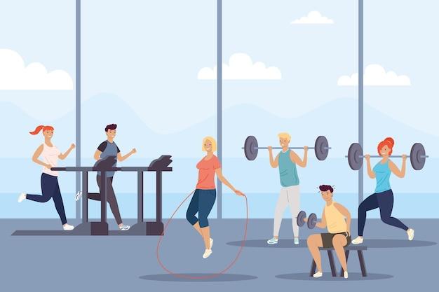 체육관 일러스트 디자인에서 피트니스 스포츠를 연습하는 사람의 그룹