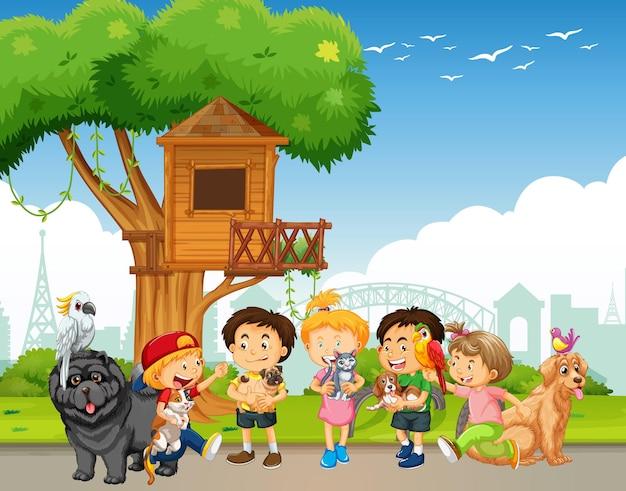 公園のシーンで飼い主とペットのグループ