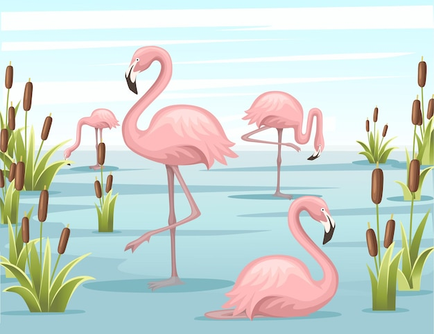 水の湖の図に立っているピンクのフラミンゴのグループ
