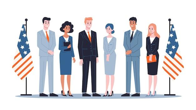 ビジネススーツの政治家のグループ。民主主義と政府
