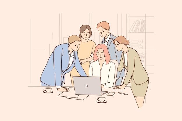사무실에서 노트북에서 함께 일하는 긍정적 인 사업 노동자의 그룹