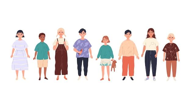 취학 연령 어린이, 귀여운 아이의 그룹.