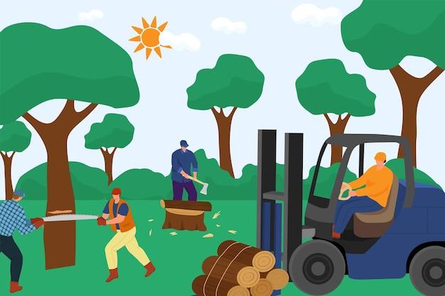 Группа профессиональных персонажей-дровосеков, работающих вместе, лесозаготовка, тяжелая работа, пиломатериалы, ф ... Premium векторы