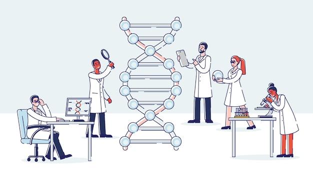 Группа профессиональных ученых работает с молекулой днк