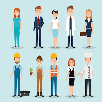 プロの労働者のグループ