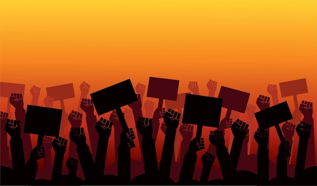 Группа протестующих кулаки подняли в воздух