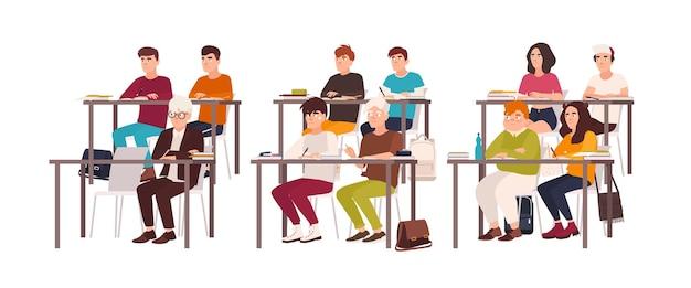 교실의 책상에 앉아 좋은 행동을 보여주고 수업이나 강의를 주의 깊게 듣는 학생들. 순종적인 십대 어린이 또는 학생. 플랫 만화 벡터 일러스트 레이 션.
