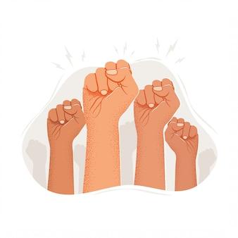 上げられた抗議者の腕のシルエットのグループ。抗議デモまたは公共行動。